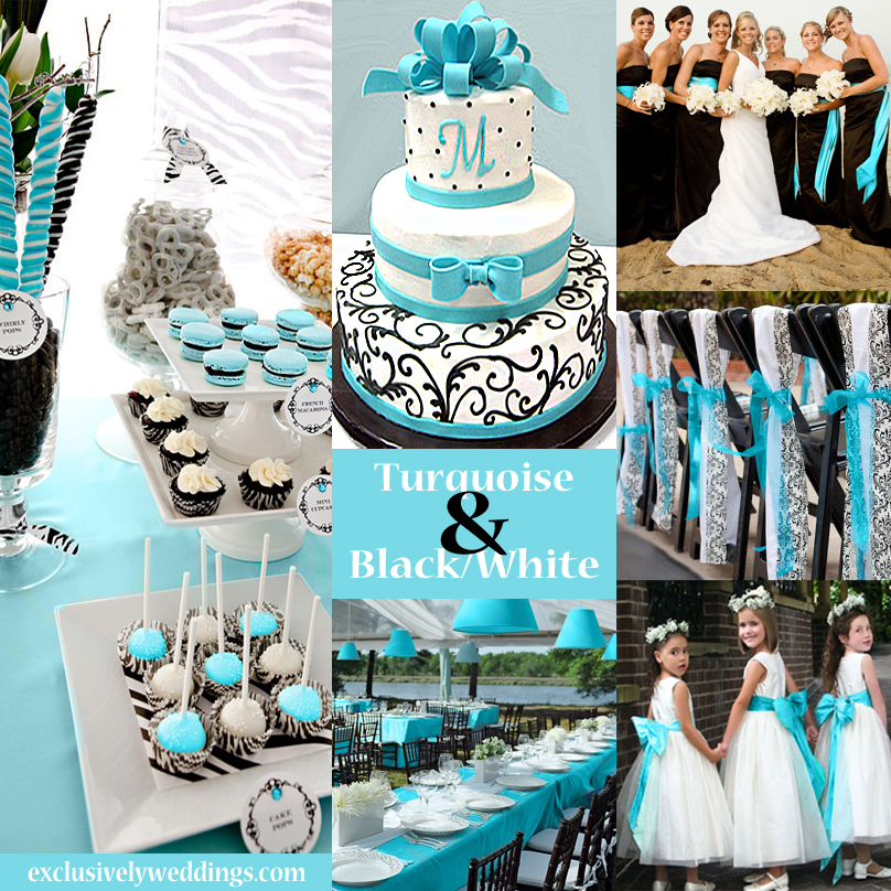 Black, White and Turquoise Wedding Colors