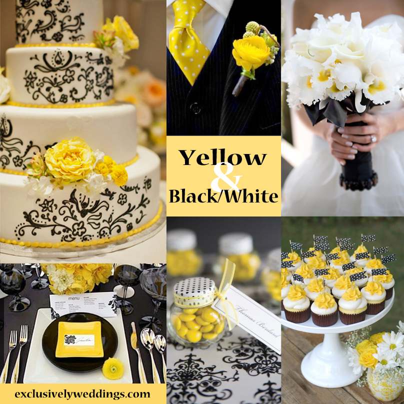 Black white and yellow wedding colors
