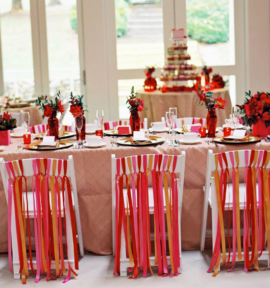 Chairs with ribbon streamers