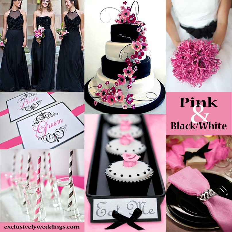 Black White And Pink Wedding Colors