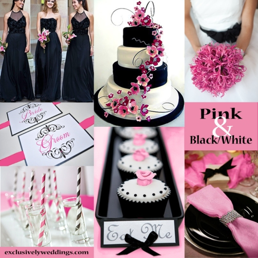 Black, White and Pink Wedding Colors