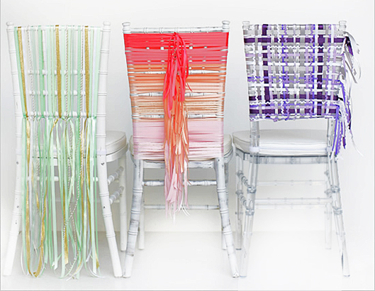 Three Chairs Decorated with Ribbons
