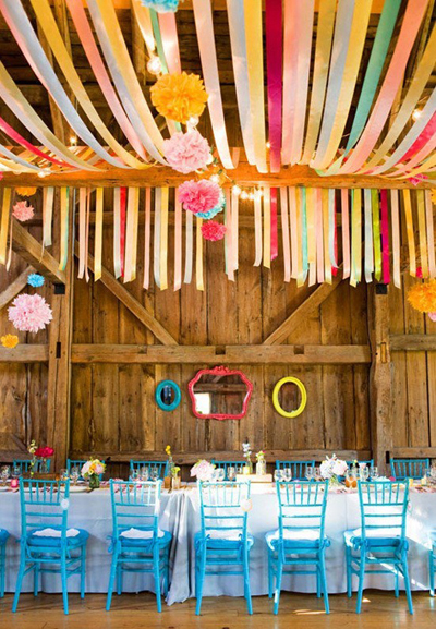 wedding reception ribbon decorations