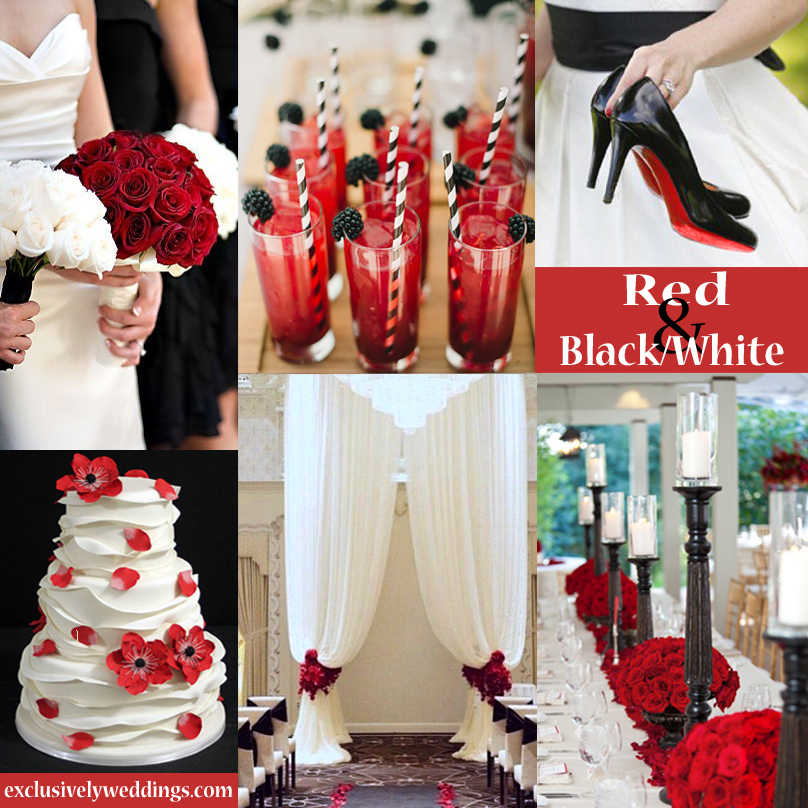 Red wedding color seven vibrant combinations exclusively weddings black white and red wedding colors 3 junglespirit Gallery