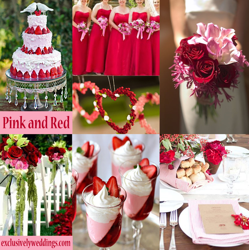 Red wedding color seven vibrant combinations exclusively weddings pink and red wedding colors junglespirit Gallery