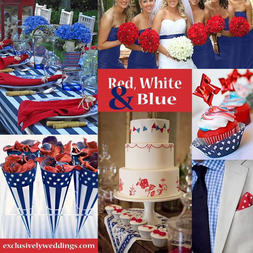 Red wedding color seven vibrant combinations - Red white blue decorations ...