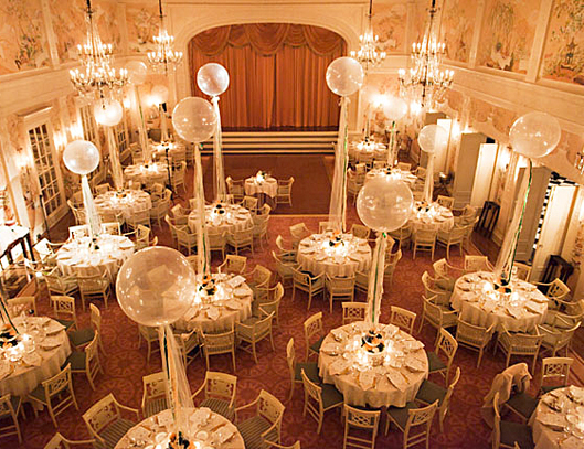 wedding tables with balloons
