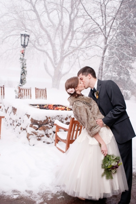 Winter Wedding Photograph in Snow