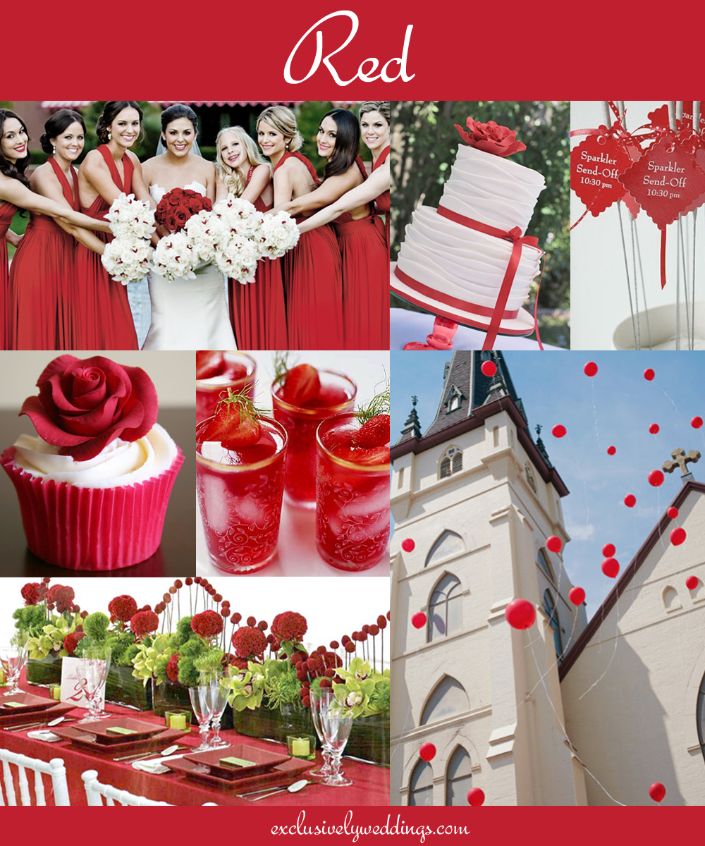 The 10 all time most popular wedding colors exclusively weddings red wedding color junglespirit Choice Image