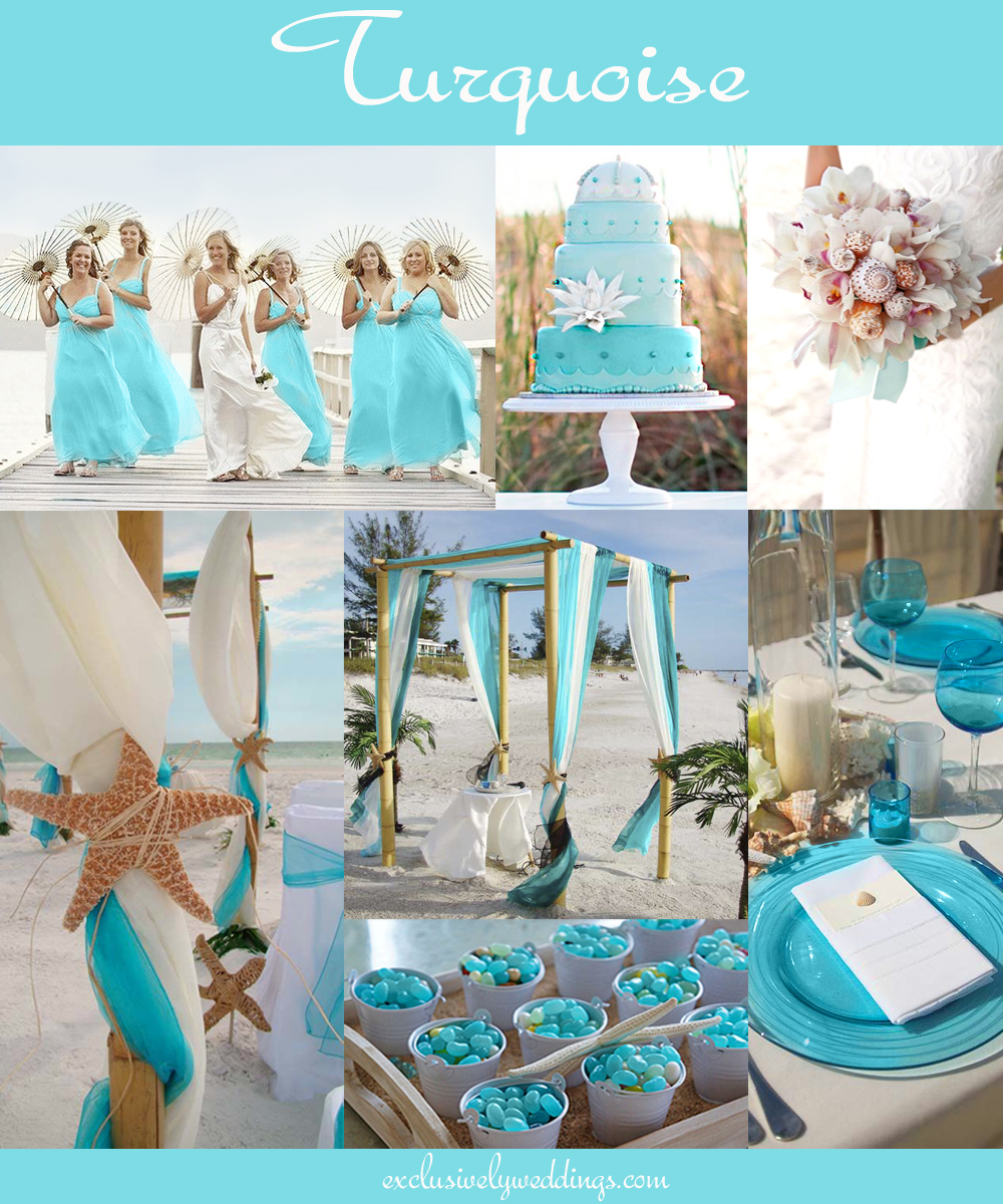 The 10 all time most popular wedding colors exclusively weddings turquoise wedding color beach junglespirit Gallery
