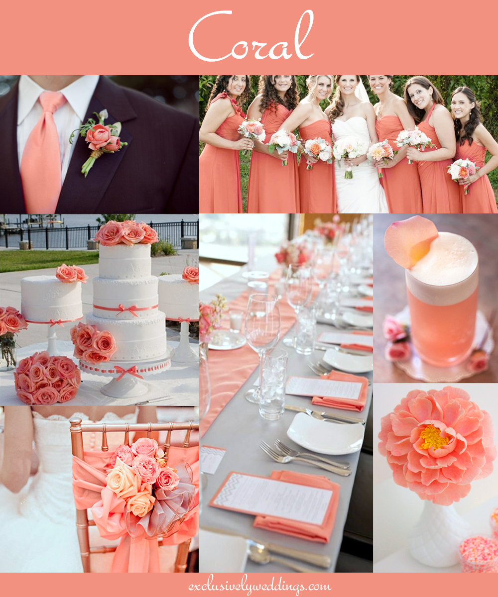 Coral wedding color combination options you dont want to overlook coralweddingcolor coral wedding color junglespirit Image collections