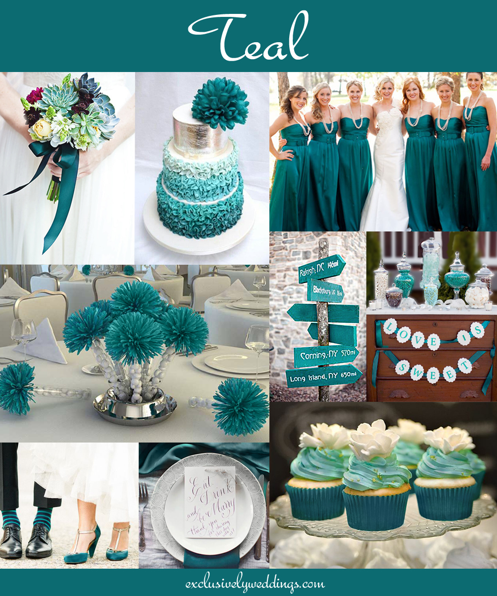 Your wedding color how to choose between teal turquoise What color is teal