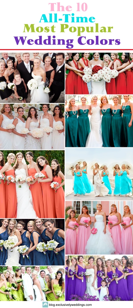 The 10 all time most popular wedding colors exclusively weddings the top ten all time most popular wedding colors junglespirit Gallery