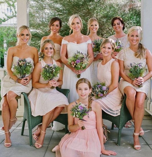 Bridesmaids seated