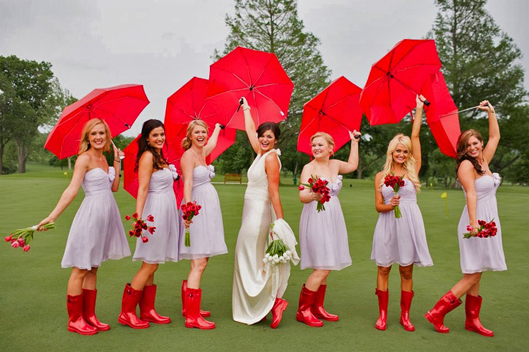 Bridesmaids with red boots