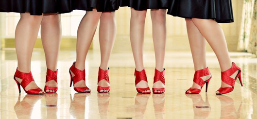 Bridesmaids with red shoes