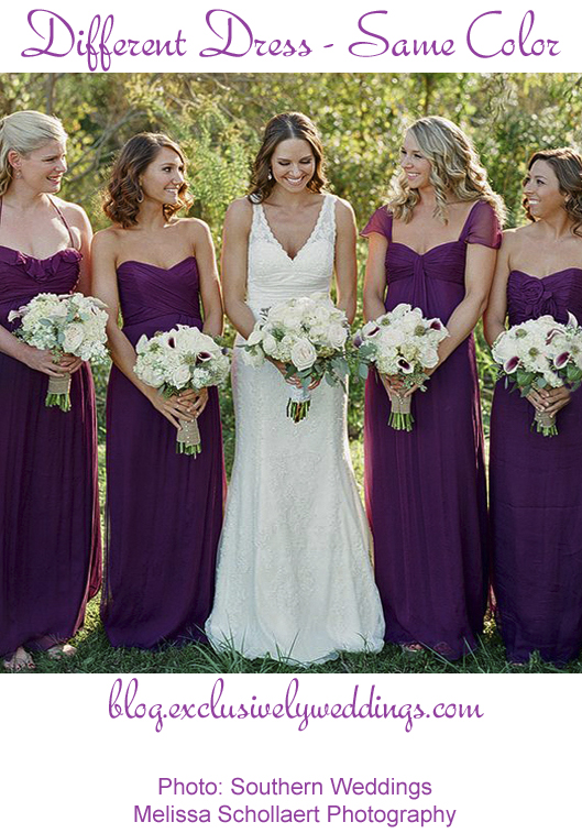 Bridesmaids_ Different_Dress_Same_Color