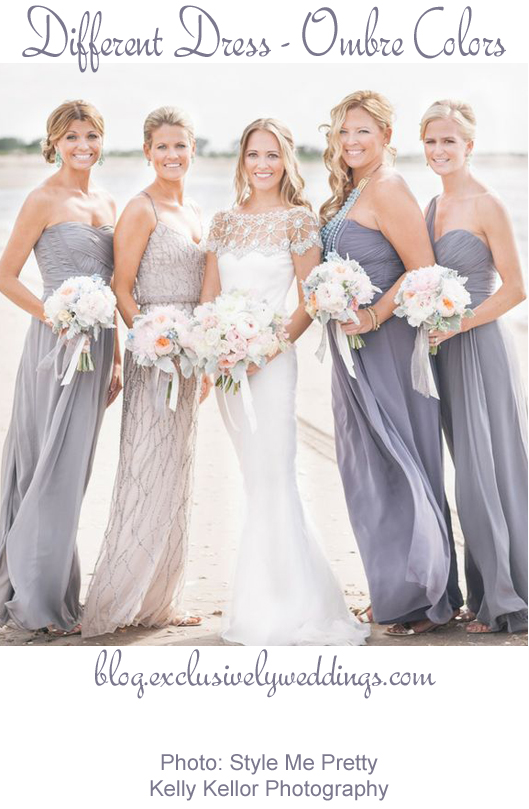 Bridesmaids_Different_Dress_Same Color_Different Hue