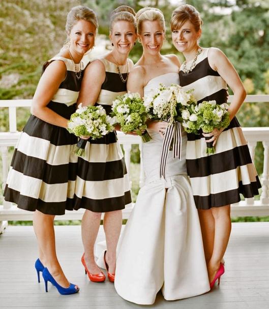 Short Bridesmaids Dresses - Stripe