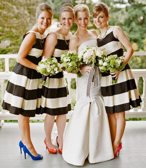 Short Bridesmaids Dresses - Stripe