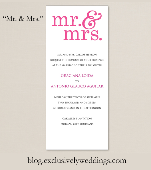 Wedding Invitation By Exclusively Weddings Mr And Mrs