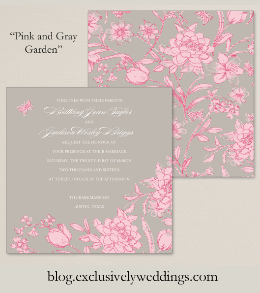 Wedding Invitation By Exclusively Weddings Pink And Gray Garden