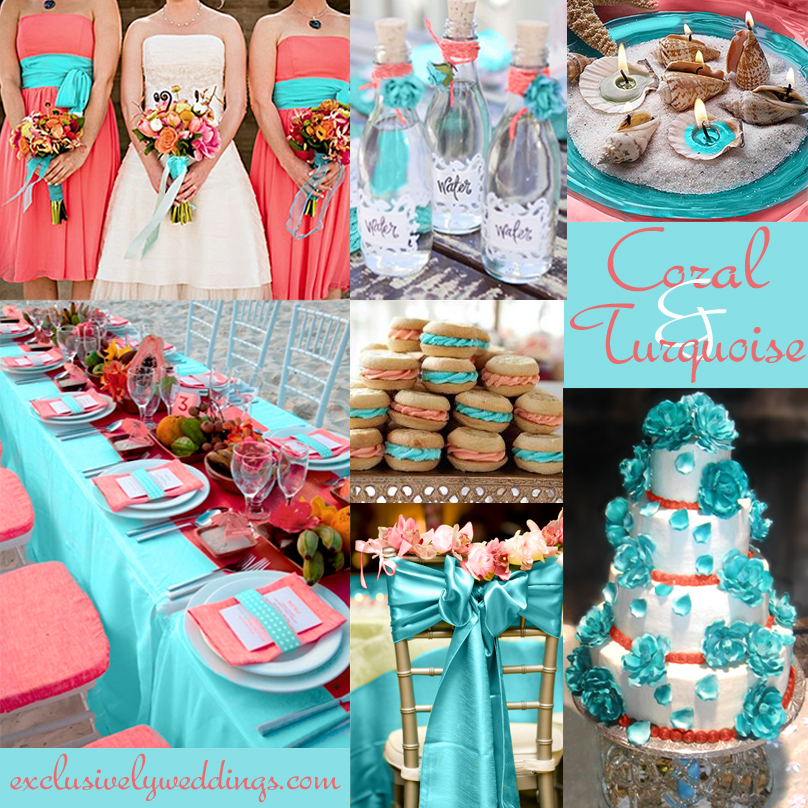 Coral wedding color combination options you dont want to coralandturquoisewedding junglespirit Images