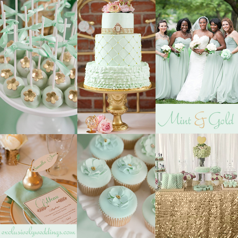 Add glamour to your wedding with gold 5 dazzling combinations mint and gold wedding junglespirit Images