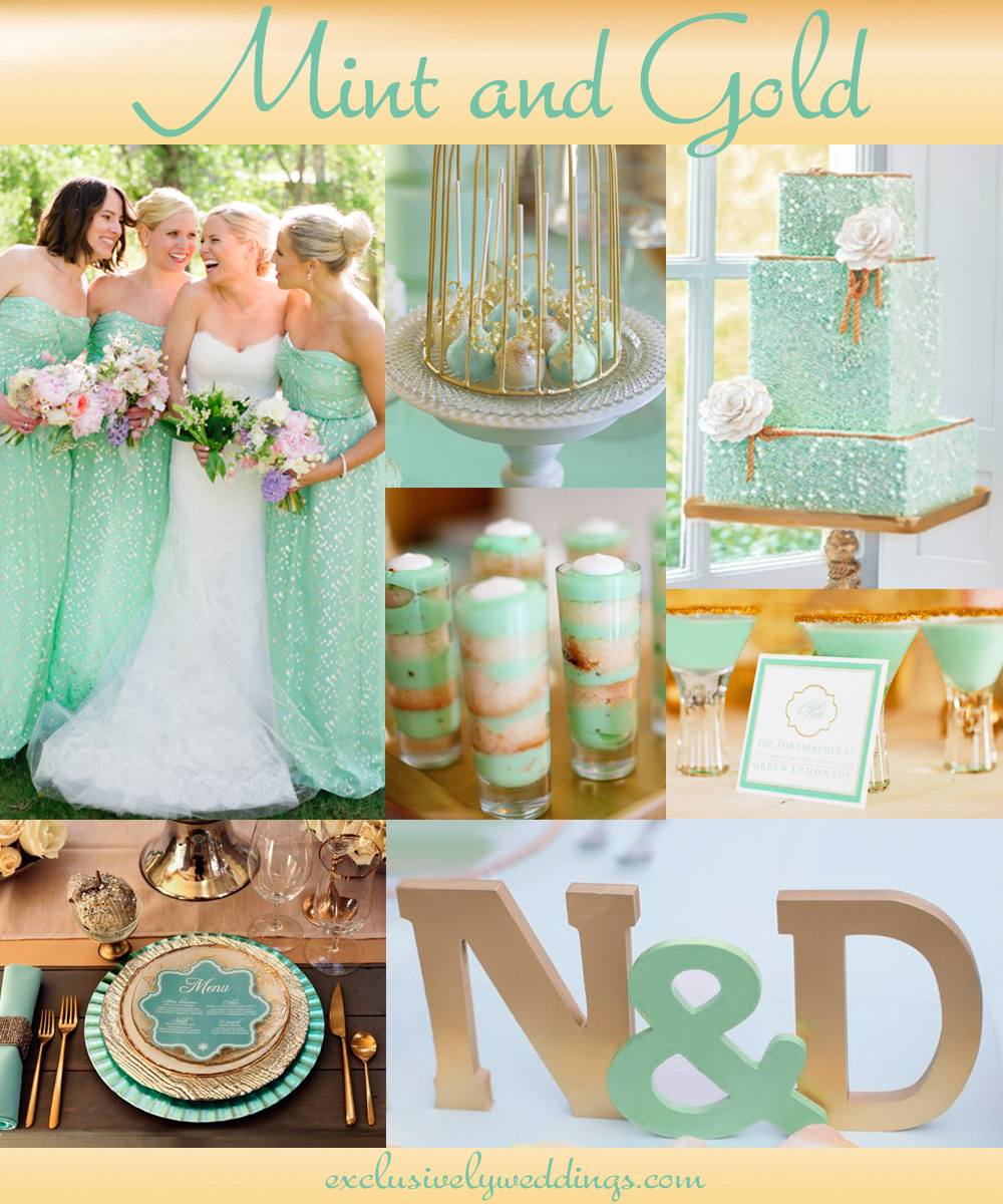 Add glamour to your wedding with gold 5 dazzling combinations mintand goldwedding 2014 junglespirit Images