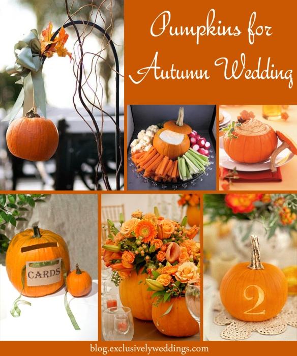 Pumpkins for autumn wedding decor