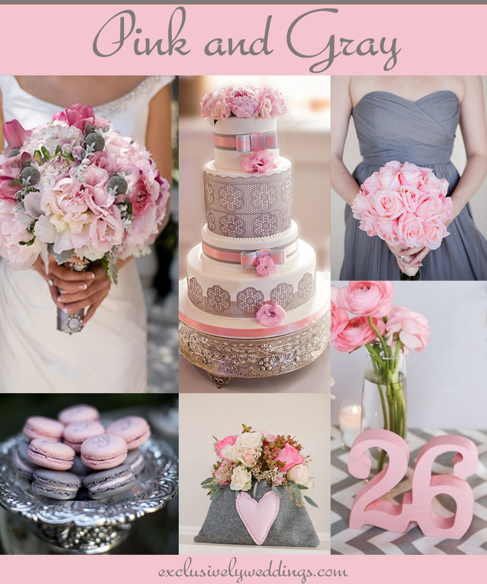 Your wedding colors pair pink with a neutral for a groom friendly pinkandgrayweddingcolors pink and silver wedding colors junglespirit
