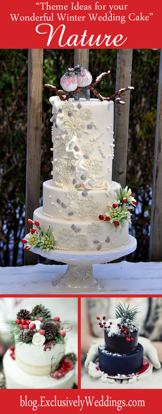 Theme Ideas for Your Wonderful Winter Wedding Cake - Nature