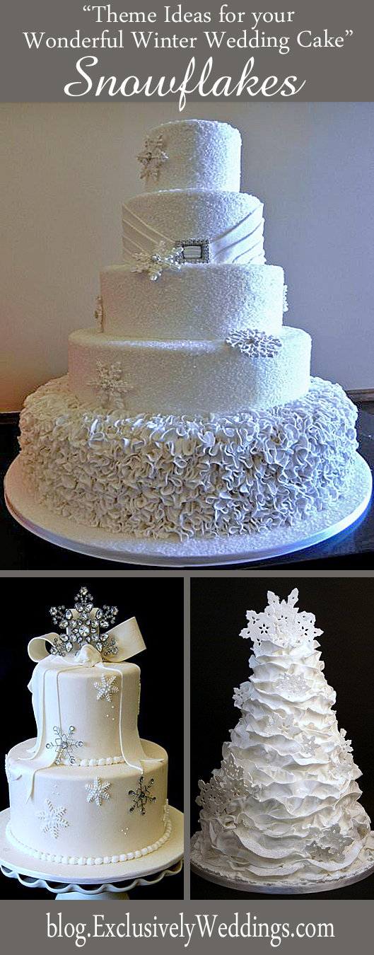 Theme Ideas for Your Wonderful Winter Wedding Cake - Snowflakes